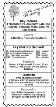 A Separate Peace Annotation Bookmark and Folding Graphic Organizer