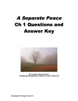 A Separate Peace Chapter 1 Questions and Answer Key