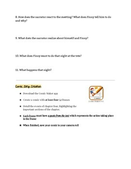 A Separate Peace Chapter 4 Comprehension Questions with Activity