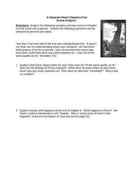 A Separate Peace Chapter 4 Scene Analysis (Knowles)