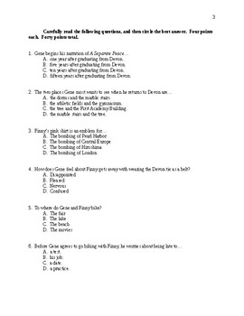 A Separate Peace - Chapters 1-5 Test - CCSS Aligned