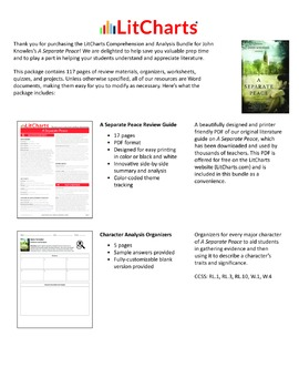 A Separate Peace – Comprehension and Analysis Bundle
