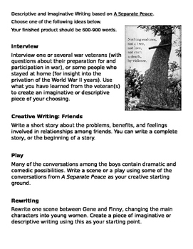 A Separate Peace Creative Writing Extension