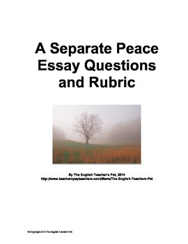 A Separate Peace Essay Questions and Rubric