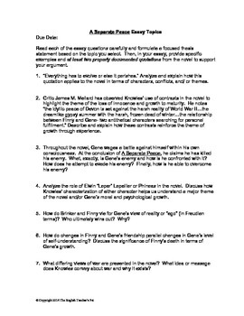 a separate peace essay questions and rubric by the english a separate peace essay questions and rubric