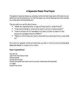 A Separate Peace Final Paper Explanation and Rubric