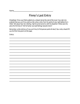 A Separate Peace- Finny's Last Diary Entry