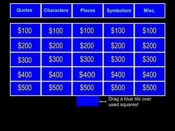 A Separate Peace Jeopardy for Smartboard