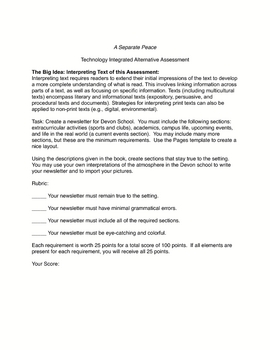 A Separate Peace Newsletter Project