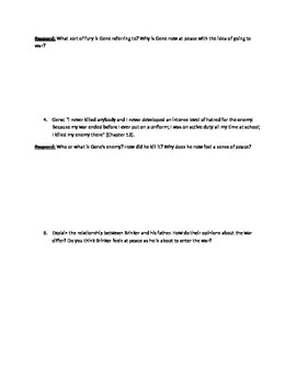 "A Separate Peace- ""Peace"" as a Theme- Worksheet"