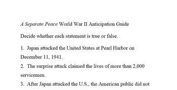 A Separate Peace Prereading True-False Statements