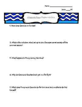 A Separate Peace Quiz Bundle with Answer Keys