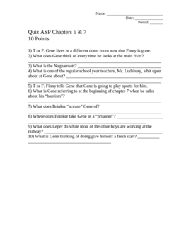 A Separate Peace Quiz Pack Tests Assessments John Knowles