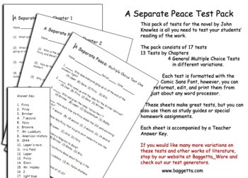 A Separate Peace Test Pack