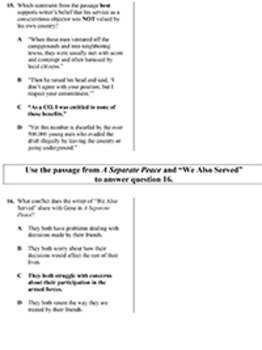 A Separate Peace Triplet English skills worksheet by Applied Practice