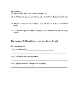 A Separate Peace Unit Handouts With Vocabulary Activities