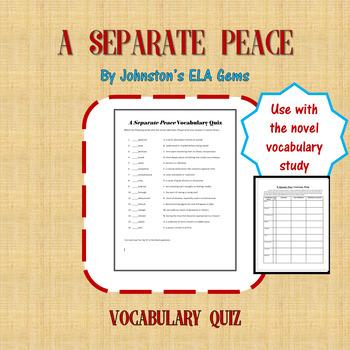 A Separate Peace Vocabulary Quiz