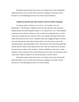 A Separate Peace - Writing Assignment  with sample paragraphs