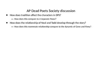 A Separate Peace and Dead Poets Society Comparative Media discussion