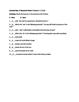 A Separate Peace by John Knowles Quizzes, Essay Test and Activities