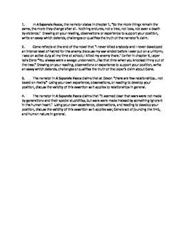 A Separate Peace - summative writing assessment AP Language Analysis Essay