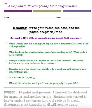 A Separate Peace worksheet bundle