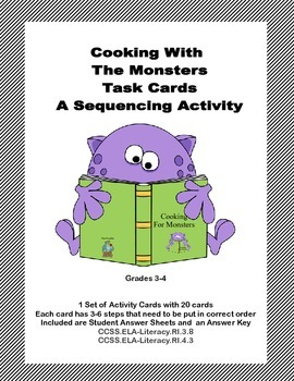 A Sequencing Activity Grades 3-4 Cooking With The Monsters Task Cards