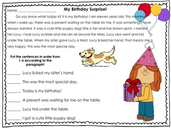 Sequential Order Activities for First and Second Graders