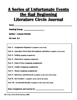 A Series of Unfortunate Events the Bad Beginning Literature Circle Journal