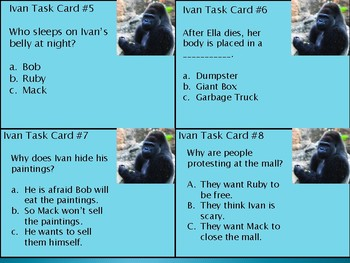 Test Prep Task Cards for The One and Only Ivan