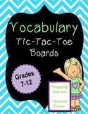 Vocabulary Tic-Tac-Toe Boards
