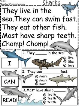 A+ Shark.... Comprehension: Differentiated Instruction For Guided Reading