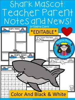 A+ Shark: *EDITABLE* Papers For Teacher News and Notes To Parents