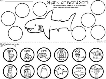 A+ Shark -ar Word Sort (-r Controlled Vowels)