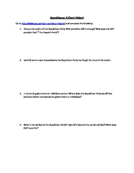 A Short History of the Republican and Demcratic Parties Worksheet