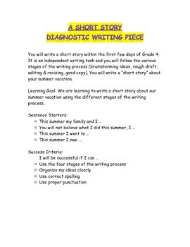 A Short Story: Diagnostic Writing Task