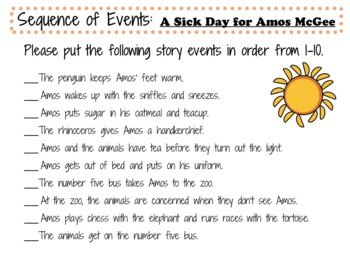 A Sick Day for Amos McGee by Philip C. Stead:   A Complete Literature Study!