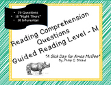 """""""A Sick Day for Amos McGee"""" leveled book questions"""