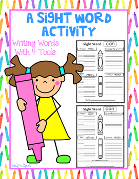 A Sight Word Activity - Writing With 4 Writing Tools
