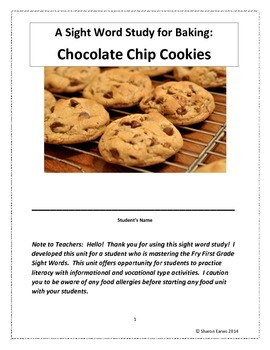 Sight Words Baking Chocolate Chip Cookies