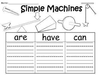A+  Simple Machines ... Three Graphic Organizers
