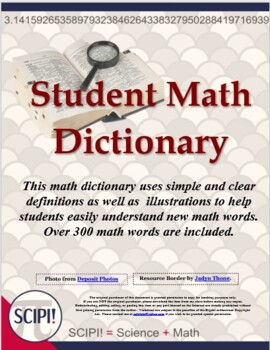 Simple Math Dictionary - Contains 300+ Common Math Words