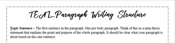 A Simple and Straightforward Paragraph Structure Handout - TEAL