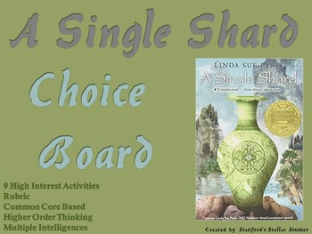A Single Shard Choice Board Novel Study Activities Menu Book Project Rubric