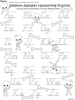 A+ Skeleton: Alphabet Handwriting Practice
