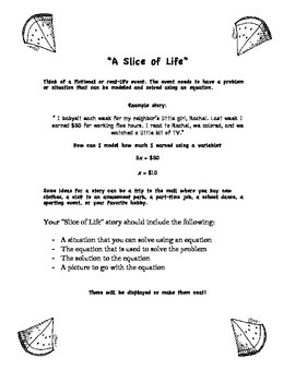A Slice of Life - Creating A Story By Writing Equations FREE!
