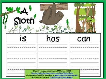 A+  Sloth... Three Graphic Organizers