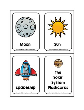 The Solar System Picture Word Flash Cards without Pluto