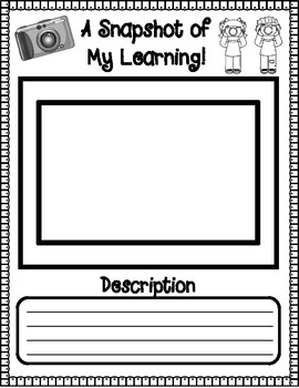 A Snapshot of My Learning Graphic Organizer for Student Led Conferences