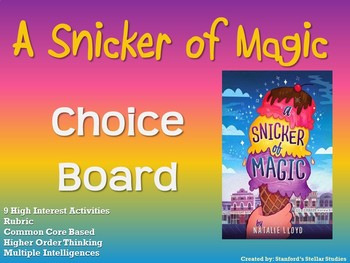A Snicker of Magic Choice Board Novel Study Activities Menu Book Project Rubric
